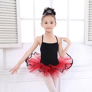 Einfache Stlye Schwarz + Rot Ballet Tutu Leotards Kinder Bodysuit Tanz-Kostüm für Mädchen Turnanzüge Ballett-Tanz-Kleid-Kind