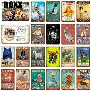 New Animals Poster Dog Cat Lion Zoo Deer Zebra Rabbit Retro Plaque Metal Tin Sign Vintage Painting Plaque Pub Bar Home Decor Metal Signs