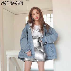 Escudo MATAKAWA Harajuku de la vendimia del otoño suelta dril de algodón de la chaqueta coreana elegante de gran tamaño jeans Mujeres