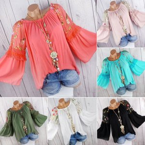Più le donne Lady Autunno Flower Stampa camicetta di estate casuale chiffon manica lunga O-collo tunica camicetta camice femminile allentato delle parti superiori