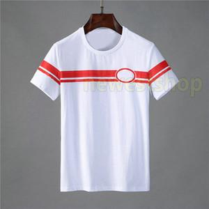 Mais recente roupas de verão Designer de luxo mens Europa Itália tag T camisa patchwork vermelho cor verde listrado impressão camisetas camisa tshirts Casual t