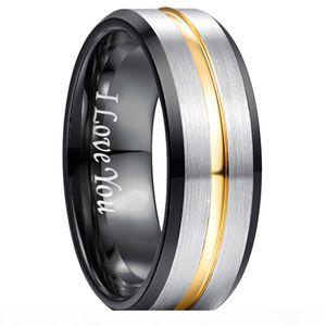 8MM Classic 100% del carburo di tungsteno Ring per gli uomini incide Ti amo Wedding Bands Tungsten anelli per il regalo degli uomini delle donne