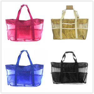 Fashion Women Mesh Shoulder Bags Multifunction Outdoor Travel Beach Tote Handbags Large Storage Organizer Mum Shopping Bag 38*69cm E22809