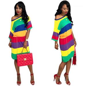 Stripe Mulheres vestido de verão Feminino shirt de manga comprida Vestido Plus Size Mulher Designer Vestuário Hot Venda do arco-íris