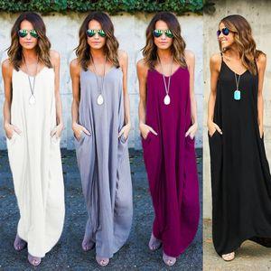 5 Renk ile Yaz Elbiseler Moda Kadınlar Polka Dot Casual Gevşek Uzun Maxi Elbise Seksi Beachwear Kolsuz Backless vestidos Artı boyutu