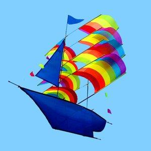 66 * 96см 3D Парусная лодка Кайт для детей, взрослых Парусная лодка Flying Kite со шнурком и ручкой Открытый пляжный парк Спорт Развлечения
