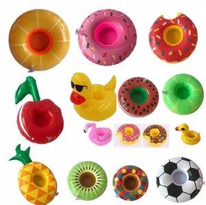 Nuova tazza di bevanda gonfiabile in PVC Portabicchieri 15 Stili Donut Anguria Ananas Limone a forma di limone Shape floating floating floating toys giocattoli