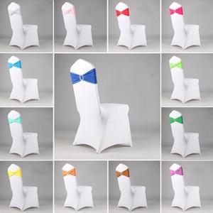 Düğün ilmek Ziyafet Elastik Festivali için Renkli Stretch Sandalye Geri Hoop Ücretsiz Bow Parti Dekorasyon Kapak Otel 16 Renkler Malzemeleri