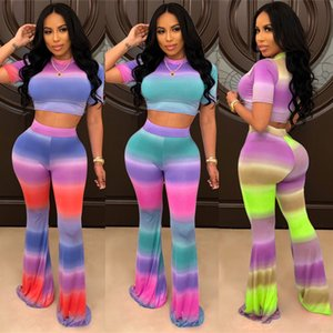 Women Designer Tie-dye Gradient Printing Short Sleeve T Shirt Crop Top Slim Flared Pants Brand Two Piece Outfits Luxury Suit CZ528