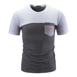 Mens Designer Национальный флаг Карманный Tshirts Летняя Crew Neck Лоскутная Tops вскользь тонкий Mens короткий рукав тройники