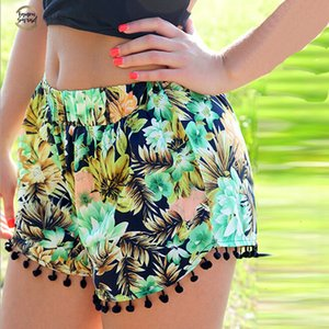 Verão 2019 Floral Pom Pom Bola Shorts Mulheres Praia Tassel Bohemian National Vento Imprimir do Loose Women Curto Feminino Plus Size Xl