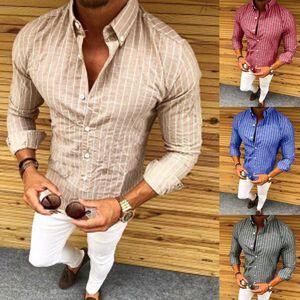 New Elegante Tops Casual Lapel Plaid camisas dos homens Masculino Long Sleeve Slim Fit visita do estilo Pano camisa casual