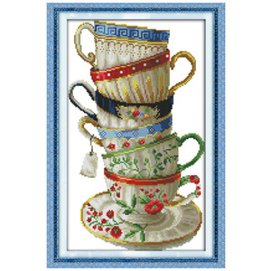 Copo de café elegante contados cruz 11CT Impresso 14 ct Cross Stitch Define Kits Chinese Cross-costura para o bordado Needlework