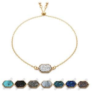 Luxe charme géométrique Druzy bracelets chaînes en pierre naturelle enveloppent Bangle Pour les femmes Fashion Designer Bijoux Drop shipping cadeau