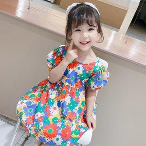 Summer Girls Sleeveless Dress Clothes Children Kids Casual All-match Flowers Pattern Dress Children's Fashion Dresses