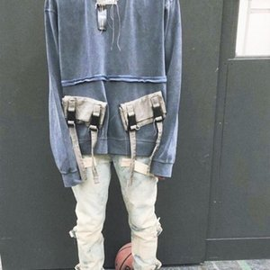 Tokalı Cep Crewneck Fleece Sweatshirt Hip Hop Büyük Boy Fit Kazak