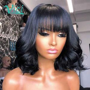 Court Bob Perruques Avec Bangs humain Bang perruque de cheveux de vague de corps onduleux avant de dentelle perruque Bob Lace Front perruques de cheveux humains pour les femmes noires 150%