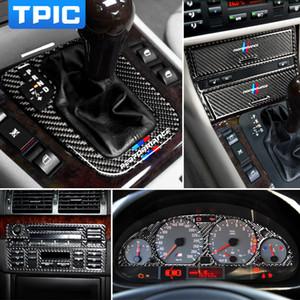 In fibra di carbonio Interno di automobile Stickers Central Control Panel CD ingranaggi disposizione della copertura della lampada sopracciglia Stickers per BMW E46 1998-2004 Serie 3