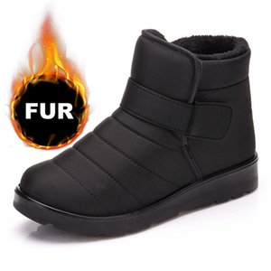 New Fashion Women Boots High Quality Waterproof Ankle Snow Boots Shoes Warm Fur Plush Hook & Loop Winter Shoes