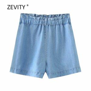 Zevity Neue 2020 Frauen arbeiten feste beiläufige Denim-Shorts Damen Falten elastische Taillentaschen heiße Shorts pantalone cortos P853