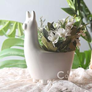 Nordic Style Альпака керамический горшок Ultra-Q Small Animal фарфоровая ваза Мини мясистые Bone China Горшок Home Decor Мебель статьи