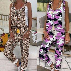 2019 Nuova tuta donne senza maniche LeopardCamouflage tuta Salopette generale Strap Harem casuale del lungo Pant Pantalone