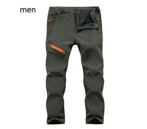 Los hombres del deporte al aire libre Pantalones Esquí Pesca Senderismo Softshell Pantalones Fleece caliente grueso a prueba de agua Otoño Invierno Pantalones Mujeres