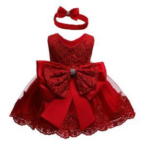 La boda del cumpleaños 0-24 M niño recién nacido de los bebés del vestido de partido del tutú del cordón del arco de la princesa vestidos de Navidad vestido rojo