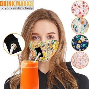 Cotton Bebida Máscara Facial Máscaras PM2.5 Lavável Dustproof Poluição Protecção Earloop face da tampa reutilizável palha partido para adultos e crianças