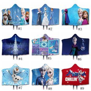 Princess Decke Königin Schnee mit Kapuze Sherpa Fleece-Decken 3D Winter Sherpa Fleecedecken Weihnachtsgeschenk Moive Theme Swaddling GGA2886