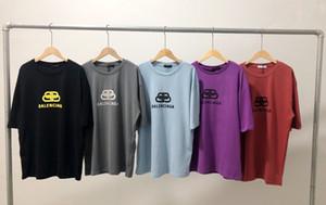 Nova chegada Grupo T-shirt pescoço casal BLC luxuoso bloqueio design de impressão T-shirt de algodão Homens Mulheres moda solta manga respirável Curto