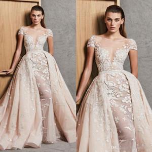 2020 Lace Mermaid Wedding Dresses With Detachable Train Beaded Overskirt Bridal Gowns Short Sleeves Appliqued Vestido De Novia