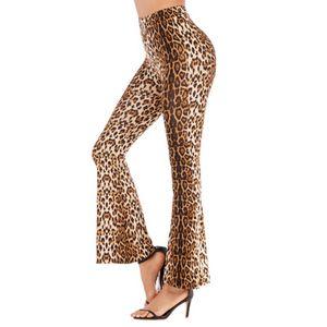 2020 Новый конструктор женские брюки весна Тонкий Leopard клеш Брюки Женщины высокой талией Wide Leg брюки 4 цвета Размер S-2XL PH-YF202261