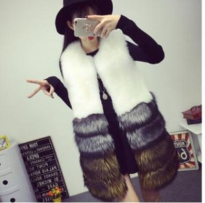x201711 MCCKLE Femmes Fox fausse fourrure de luxe Vestes d'hiver 2017 Mode d'hiver épais manteau sans manches en fourrure de haute qualité manteau élégant Femme