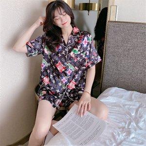 Haute Elasticité Femmes Pyjama Set de luxe L Madame Letter 4 couleurs douces de nuit Filles Silk touch Nightgowns