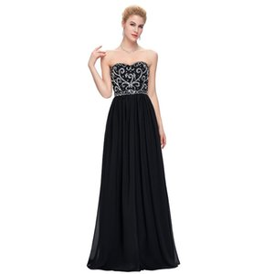 Beaded Sweetheart Chiffon Evening Dresses Navy Blue Black 2019 Long Prom Gown New Formal Dress In Stock
