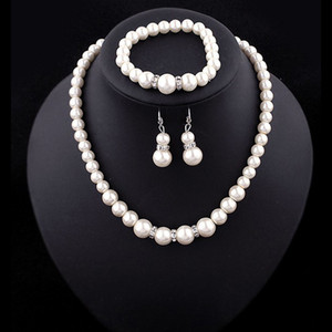 Women Faux pearl Jewelry sets wedding fake Artificial pearl beads chains Necklaces bracelet Earrings For bride engagement Jewelry Gift