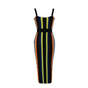 High quality 2017 summer new blue black & yellow colorblocked HL bandage dress Sexy evening Party Body dress Dress + suit