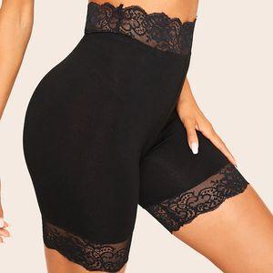 GAOKE Black Lace Trim Solide Biker Shorts für Frauen Active 2020 Sommer-Freizeitsport weibliche hohe Taillen-dünnen Shorts