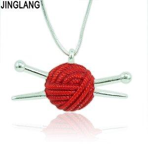 JINGLANG Colgantes de moda Collar 2 Cadena de serpiente de color Metal Knitting Wool Ball Charms Collar para mujeres Regalos de joyería