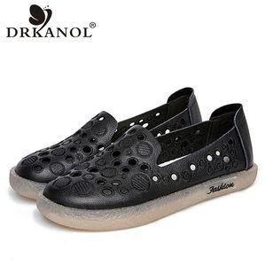 DRKANOL Mode Femmes Chaussures plates Slip Summer On Mocassins Femme Broderie véritable Shallow en cuir Mocassins Femmes Chaussures Casual