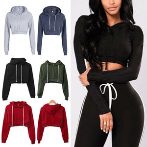 Casual Active New Spring Fall Women Ladies Long Sleeve Pullover Short Length Solid Hoodies 5 Style S-XL Free Shipping