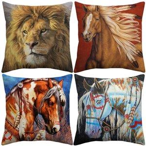 Indian War Horses Cushion Covers Wild Animal Horse Lion Unicorn Art Cushion Cover Bedroom Decorative Linen Cotton Pillow Case