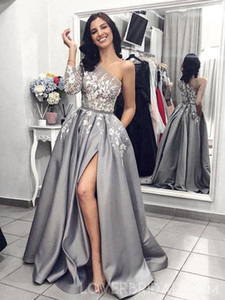 Grey Silver One Shoulder Long Sleeves Formal Evening Dresses Sexy High Slit Lace Floral Stain Women Special Occasion Prom Gown