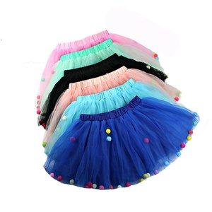 Baby Girl Tutu Skirts Kids Elastic Waist Pettiskirt Girl Princess Tulle Skirt Colorful Pompoms Mini Skirts Children Clothing New