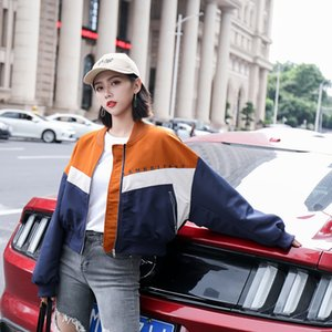 Womens Jacket Zip Up Letter Print Jacket Long Sleeve Stand Collar Coat Colorblock Women Crop Tops Autumn Style Casual Jackets