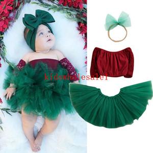 Newborn Neonata infantile Natale copre gli insiemi A spalle Top + Lace tutu fascia 3pcs Xmas Party Outfit
