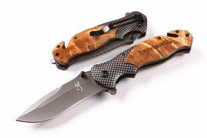 Atacado- facas Brown X50 Fast-abertura tático faca dobrável Grey Titaniun lâmina de aço + madeira alça de campismo faca econômicos com caixa de papel Original
