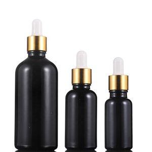 Hot Sale 5ml 10ml 15ml 20ml 30ml 50ml 100ml Schwarz Dropper Glasserumflasche ätherische Öl Dropper Glasflaschen Mit Gold Aluminium Cap