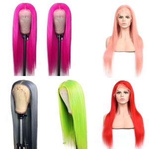 4 Peruk Ruyibeauty tarafından Hint Virgin İnsan Saç 13X4 Dantel Açık Peruk Düz Gri mor Mavi Kırmızı Pembe Yeşil 13